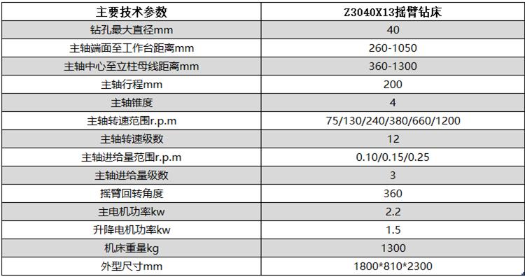 Z3040X13半液压摇臂钻床设备技术参数